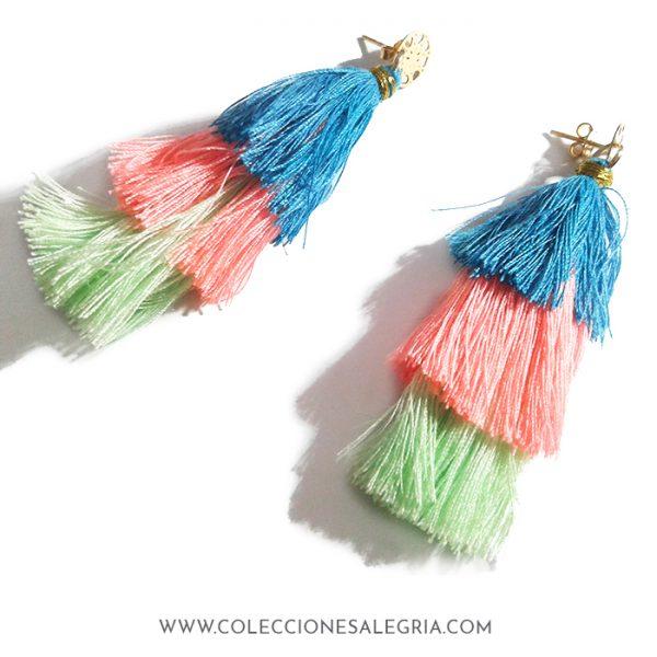 Aretes / Zarcillos de flecos de colores