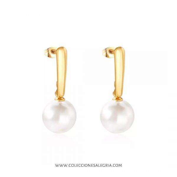 Aretes de perlas con Acero Inoxidable