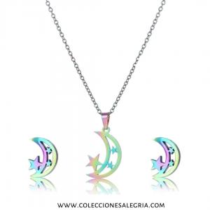 Set de Luna y Estrellas Tornasol de Acero Inoxidable