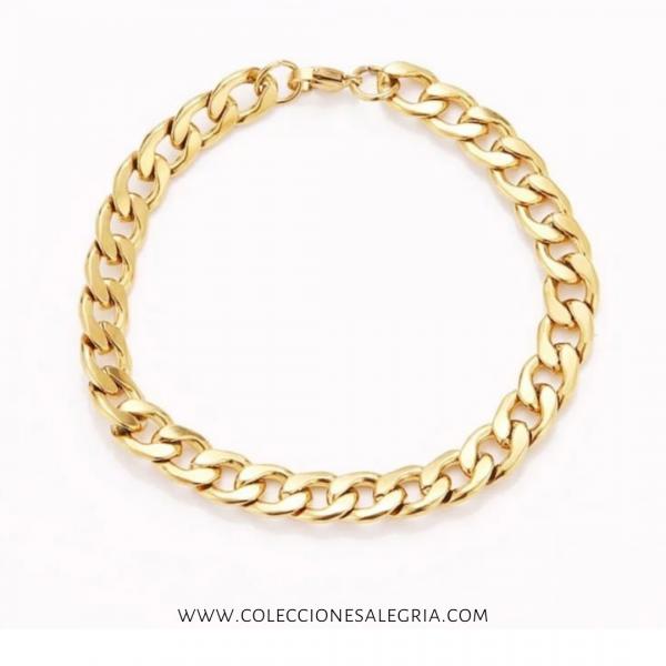 Pulseras de cadena de Acero Inoxidable para hombre dorada (22.5cm)