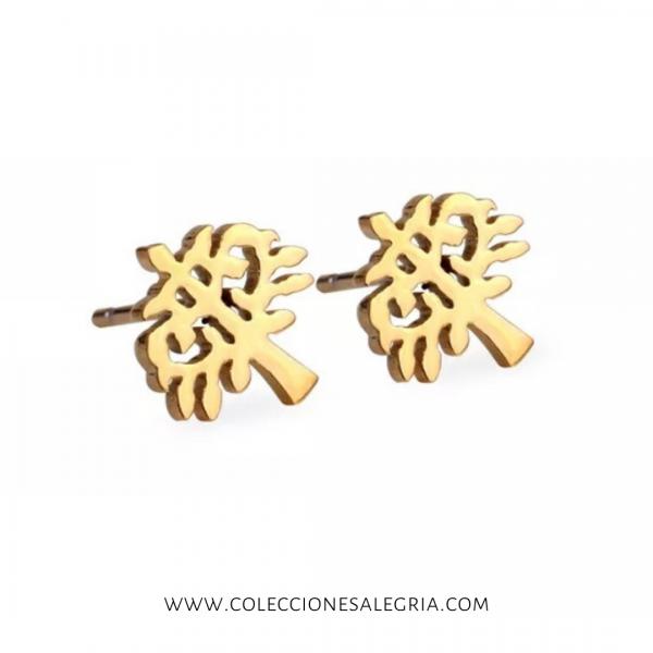 Aretes de Arbol dorado de Acero Inox
