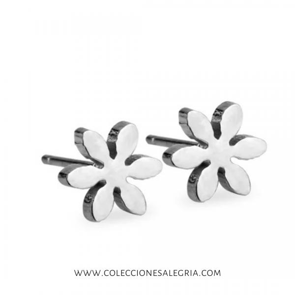 Aretes de Flor grande plat de Acero Inox