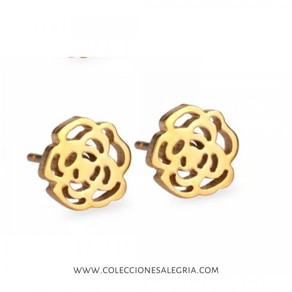 Aretes de Rosa dorado de Acero Inox