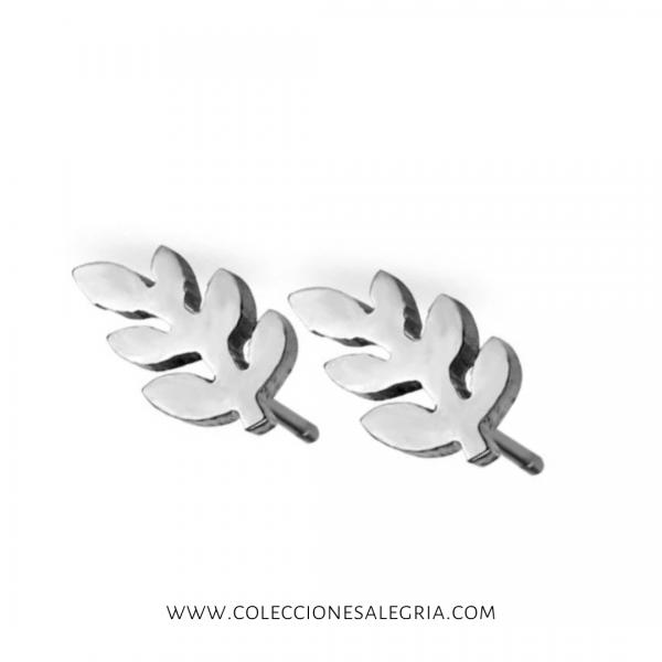 Aretes de trigo plateado de Acero Inox