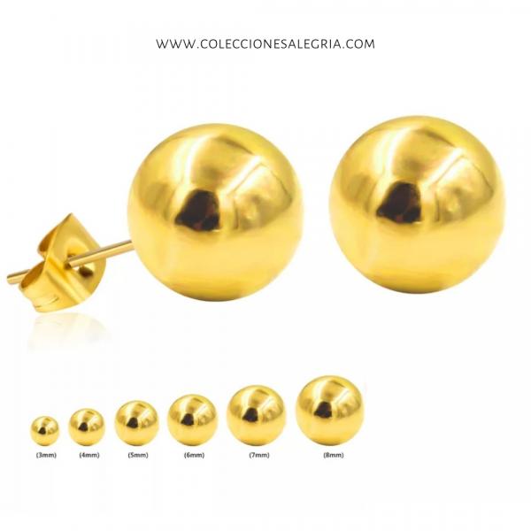 Aretes de bola redonda Dorados de Acero Inoxidable