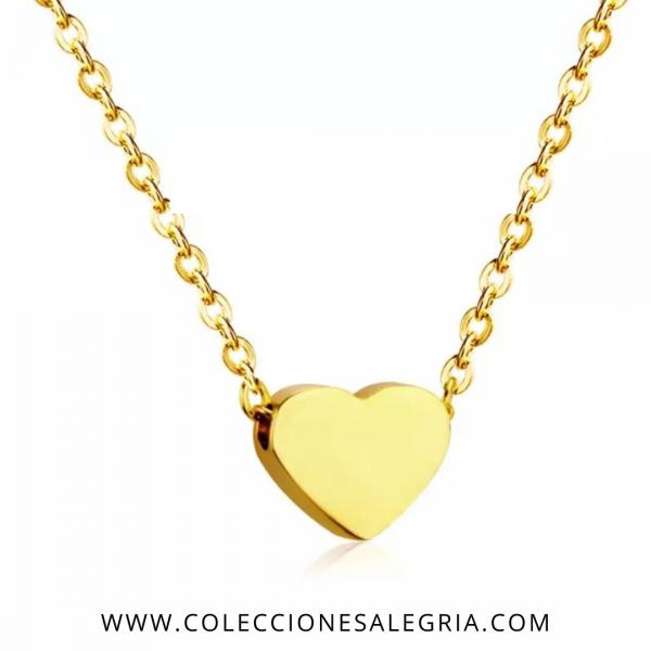 Collar de Corazón de Acero Inoxidable dorado